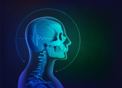 concept of health care technology, graphic of realistic skull scan with pulse sign