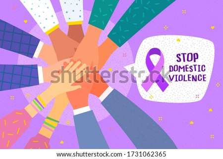 Concept of healthcare, charity, people and social problems. Hands with purple violet domestic violence awareness ribbon and hearts. Flat design, vector illustration. Stock fotó ©