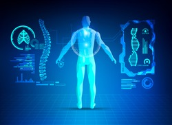 concept of healthcare technology; digital x-ray interface of human body scan comprising with spine, ribs and dna