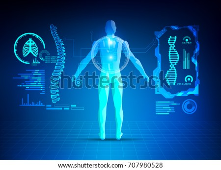 concept of healthcare technology; scientific interface of identity check; digital blueprint of 3D body part of human