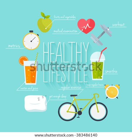 Concept of healthy lifestyle infographics. Icons for web: fitness, food and metrics. Flat design vector illustration.