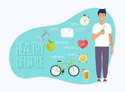 Concept of healthy lifestyle infographics. Young man lead a healthy lifestyle. Icons for web: fitness, healthy food and metrics. Flat design vector illustration.