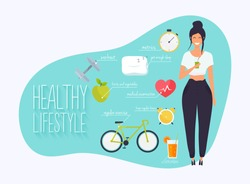 Concept of healthy lifestyle infographics. Young woman lead a healthy lifestyle. Icons for web: fitness, healthy food and metrics. Flat design vector illustration.