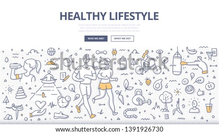 Concept of healthy lifestyle. Man and woman jogging together. Healthy nutrition, meditation, drinking water. Fitness & sport. Doodle illustration for web banners, hero images, printed materials