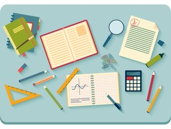 Concept of high school object and college education items with studying and educational elements. Top view of desk background. Flat icons vector collection.