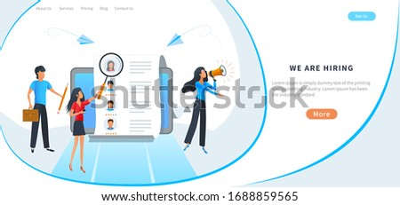 Concept of human resources, online recruitment, job hiring, employment service. Recruiter searching for candidate to hire in a list of resumes. Business recruiting, recruitment agency interview