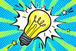 Concept of Idea. Light bulb in pop art style on blue background. Vector illustration.