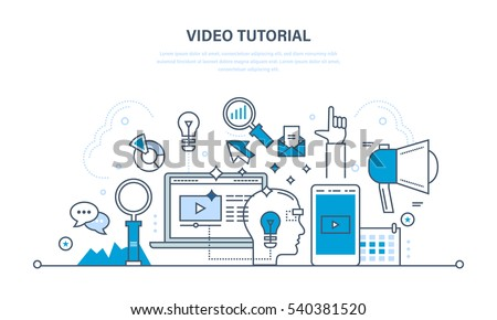 Concept of illustration - information technology, promo, media, learning and education. Illustration thin line design of vector doodles, infographics elements.