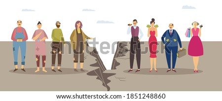 Concept of imbalance, class discrimination and monetary inequality in human society. Gap between unlucky sad poor and happy successful rich people. Vector flat isolated illustration Foto d'archivio ©