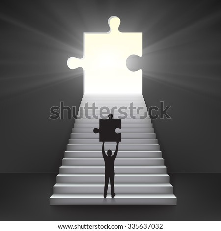 Concept of important work. Bussiness man hold in hands part of puzzle in the start of ladder and with luminous hole in form of puzzle.