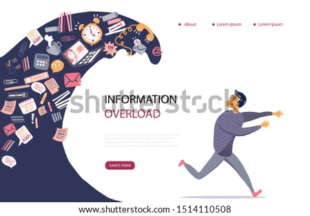 Concept of Information Overload, Digital hygiene, Stress. Overwhelmed person running away from the information stream wave pursuing him. Vector illustration in flat style.  Сток-фото ©