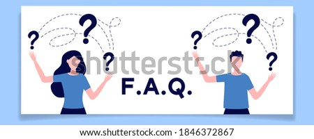 Concept of inquiry, frequently asked questions, looking for assistance, help, thinking. Female and male characters surrounded question marks. Men and woman in trouble. Flat vector illustration Stock photo ©