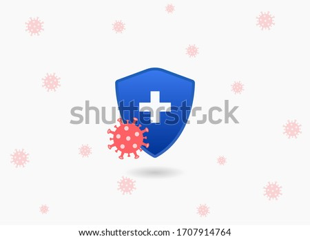 Concept of insurance coverage. Coronavirus protection safe zone, or government insurance policy to help protect from infection. A shield protecting from COVID-19 Foto stock ©
