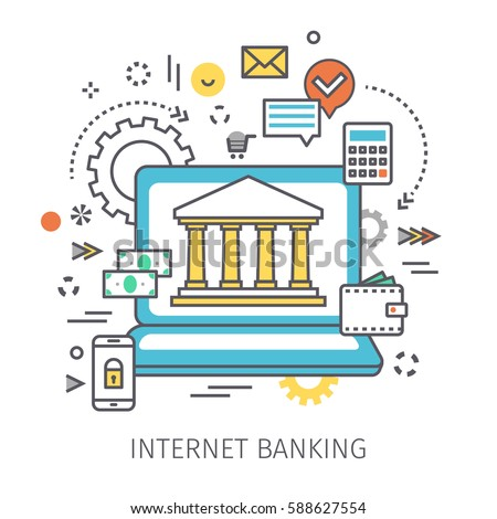 Concept of internet banking. Open notebook with symbol of Bank on the screen and icons in the style of line art. Flat design, vector illustration