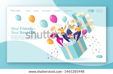 Concept of landing page on birthday celebrations theme. Joyful, flat characters people jump out of the gift box with confetti and balloons. Friends made a surprise. Your best gift is your friends.
