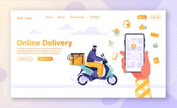 Concept of landing page on delivery service theme, package tracking in mobile application. Cartoon flat design style. Young man, courier rides motorbike with backpack in trunk deliverer.