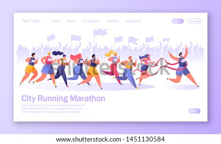 Concept of landing page on healthy lifestyle theme. Active people sports. Flat characters running marathon distance. Crowd of fans on the background rejoices, cheers for them and encourages.