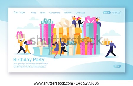Concept of landing page with birthday celebration theme for mobile website development and web page design. Happy, funny, flat cartoon, people characters carry gifts, blow their whistles and dance.