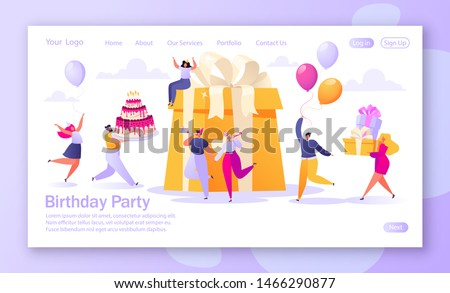 Concept of landing page with birthday celebration theme for mobile website development and web page design. People carry gifts and a big cake, blow their whistles, dance and celebrate the holiday.