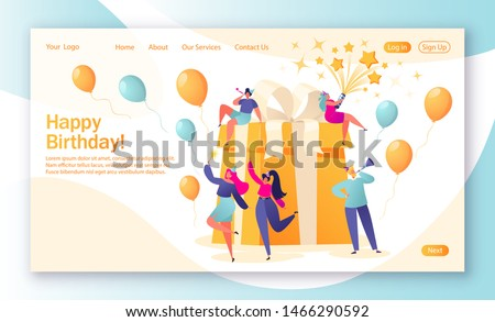Concept of landing page with birthday celebrations theme. Birthday party celebration with friends. People blow their whistles, dance and celebrate the holiday around a big, beautiful, bright gift.