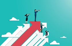 Concept of leadership and career. businesspeople stand on top arrows use binocular looking to the success. symbol as achieves goals in business in work. vector illustration flat.