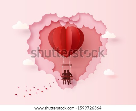 Concept of Love and Valentine day ,Couples sit on swing floating on the sky with hot air balloon Heart shape. Paper art collage style.