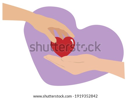 Concept of love, concern, sharing, donation of human kind By giving hearts to each other. Flat cartoon illustration. Foto stock ©