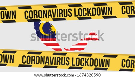 Concept of Malaysia national lockdown due to coronavirus crisis covid-19 disease. Malaysia announce movement control order emergency state restrictions to combat the spread of the virus.