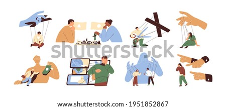 Concept of manipulation and control over people. Puppet masters' hands influencing marionettes and manipulating human slaves. Colored flat graphic vector illustration isolated on white background Foto stock ©