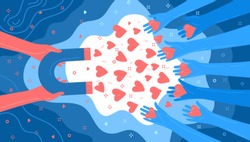 Concept of Media influence. Red hands with magnet attracts hearts from blue hands. Engaging followers in blue color. Flat design, vector illustration.