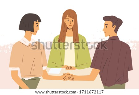 Concept of mediation. Man and woman sitting at desk, discussing problem, finding solution. Partners negotiation process with impartial arbitration. Vector illustration in flat cartoon style. Foto stock ©