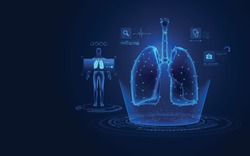 concept of medical health care technology, graphic of lungs with analysis data