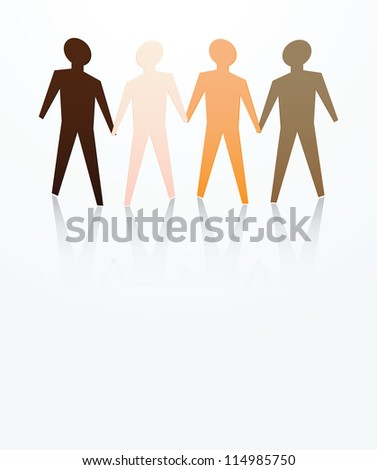 concept of men are equal with different skin color - stock vector