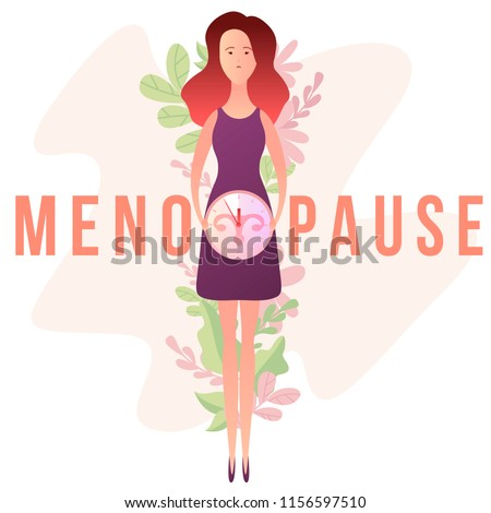 Concept of menopause in the form of woman with a clock and female genital organs