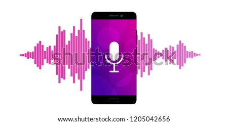 Concept of mobile application voice recognition. Sound wave with imitation of voice and microphone icon. Vector illustration.