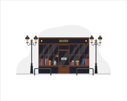 Concept of modern dark black english bookstore front shop exterior with street light. Education or library market. Books in shop window on shelves. Flat vector illustration.