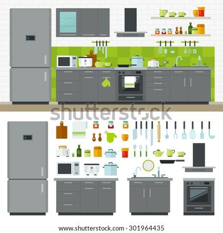 Concept of modern kitchen. Flat horizontal banners with kitchen utensils, electric cooker, refrigerator, kitchen furniture, washing, interior. Cartoon style for web, analytics, graphic design