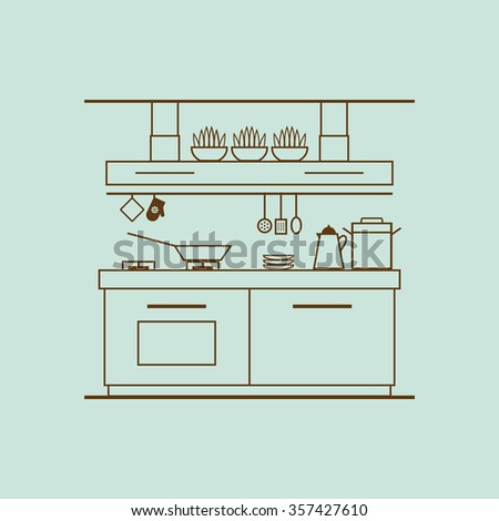 Concept Of Modern Kitchen With Utensils Furniture And Interior Decor Illustration Made Of Thin