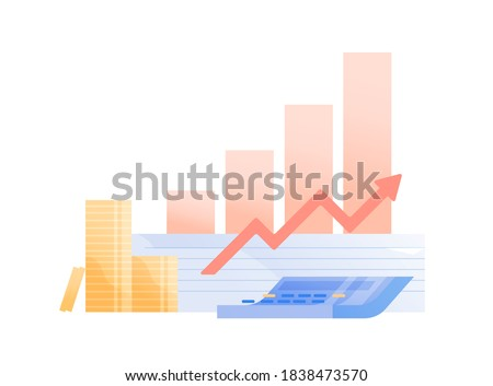Concept of money profit, investment growth. Histogram shows growing funds and company success. Business improvement and financial profit graph. Vector illustration in flat cartoon style