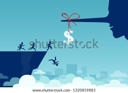 Concept of money trap incentive in business. Vector of group of business people running towards a dollar sign tied to a liar long nose and falling off a cliff  Photo stock ©