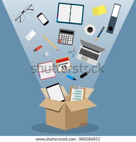 Concept of moving into a new office, cardboard box with documents, laptop, calculator, calendar, tablet PC, coffee cup. vector illustration in flat design on blue background.
