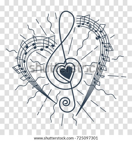 concept of musical representation in the form of a treble clef with a heart and flying rays and notes. Icon, silhouette in the linear style