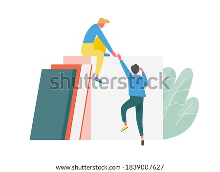 Concept of mutual ascending, support and teamwork between partner or coworker. Leader help newcomer to climb career ladder. Work relations between colleagues. Flat vector cartoon illustration Stock foto ©