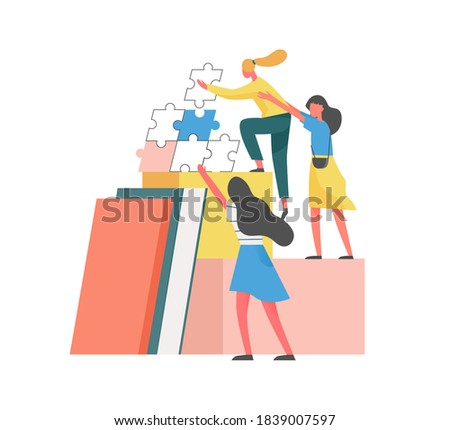 Concept of mutual partnership or teamwork between partners or coworkers. Team of women help each other to climb career ladder. Flat vector illustration of supporting characters isolated on white