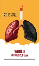 Concept of No smoking and World No Tobacco Day. - Vector