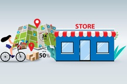 Concept of offline shopping, young women ride a bicycle to pick up the goods at store in a background of map and marker in perspective view.