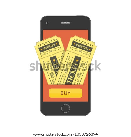 Concept of online buy cinema ticket. Mobile smartphone with the app to buying tickets. Buy Tickets on the internet with a mobile phone. Vector illustration EPS 10.