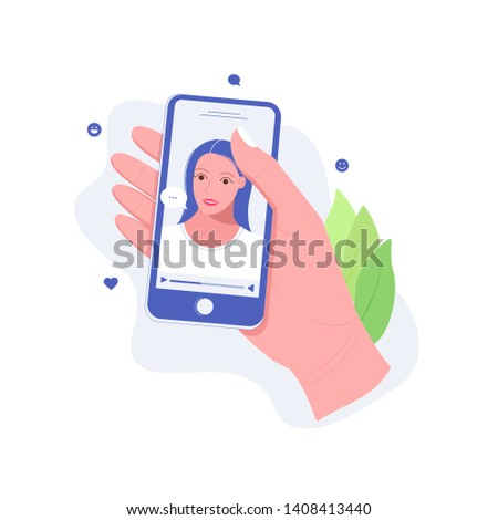Concept of online chat app. Video chatting online on smartphone. Hand holds smartphone with video chat with young girl on screen. Trendy flat style. Vector illustration.