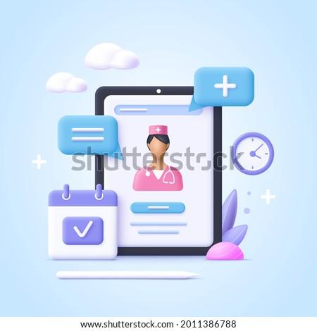 Concept of online consultation doctor. Online medicine, healthcare, medical diagnostics.  3d realistic vector illustration.