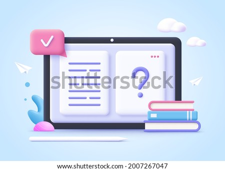Concept of online education. Book pages and question mark, learning resources, study course, exam preparation, review knowledge, short summary, write essay. 3d realistic vector illustration.